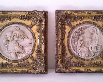 SALE: Vintage Victorian Style Marble Plaques - set of 2