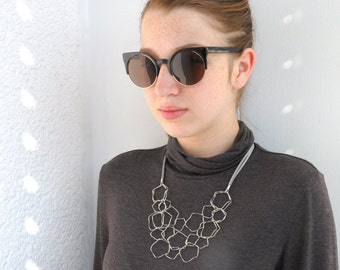 Modern silver necklace,  Geometric necklace, layered necklace, Fashion Statement necklace, Elegant statement necklace, Urban necklace