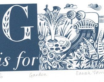 G is for Garden - Alphabet Silkscreen Print