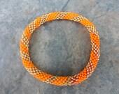 Orange,Gold Crocheted  Beaded Bracelet,Nepal, PB11