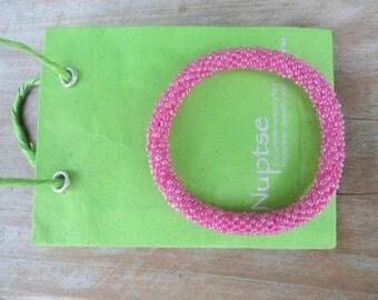 Neon Pink Beaded Bracelet,Czech Seed Beads,Nepal, SB8