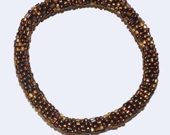 Metallic Copper, Gold  Handmade Beaded Bracelet, Seed Beads, Crocheted in Nepal, MB8