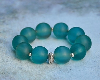 Chunky Rustic Aqua Beaded Bracelets by BeadRustic | FREE SHIPPING