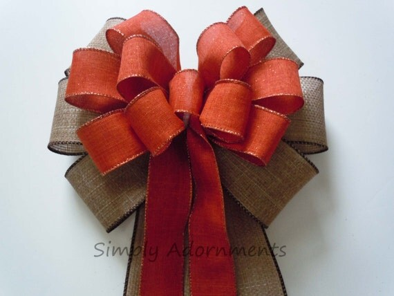 Rustic Burlap Fall Bow Burnt Orange Burlap Wreath Bow Fall Orange Burlap Wedding Pew Bow Autumn Fall Bow Fall Wedding Church Aisle Decor Bow