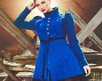 """Pattern for seemless felted Jacket """"Royal Blue"""" with instructions. DC FASHION WEEK 2014"""