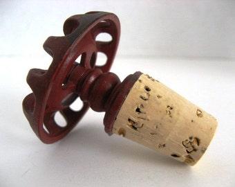 Repurposed Faucet Handle Bottle Stopper Red Metal - Great Housewarming Gift