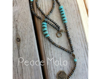 Turquoise and Hematite Peace Mala