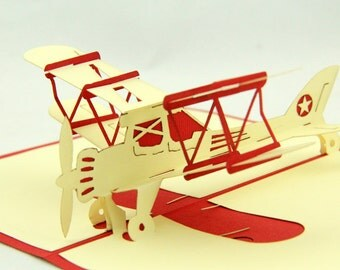 Vintage aircraft pop up card  3d airplane card