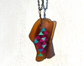 Amber Sea Glass Pendant - Hand Painted Triangles