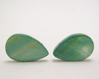 shimmering green mother of pearl teardrop beads - 16mm - top drilled