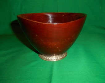 Five (5),  Hand Turned, Mahogany Bowls, with Sterling Silver Bases.