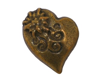 3 Alpine Heart 5/8 inch ( 16 mm ) Metal Buttons Antique Brass Color