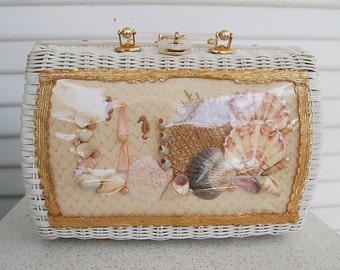 Shell Wicker Purse Princess Charming Bag Handbag 1950's Retro Seahorse