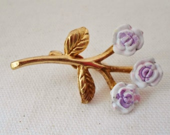 Lavendar Flowers Brooch Gold, Lavendar, Vintage, Small Brooch, Collectible, Jewelry, Pin, Accessory
