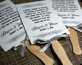VINTAGE Wedding Program Fan - DIGITAL - Outdoor Ceremony - Vintage Scroll Collection - Satin Lace Riboon - Eco - Sample - DIY Printable File