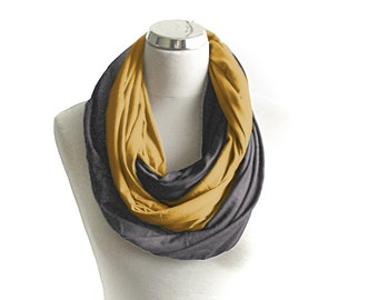 Grey and Mustard Yellow Infinity Scarf, Double Jersey Infinity Scarf, Gray and Honey Circle Scarf