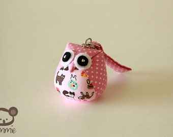 Meow - Cute, Owl Doll, Bag, plush, owl decor, pink, poka dot, dots, cat, kitten, little, mini, kid, owl decoration, kawaii, animal, bird