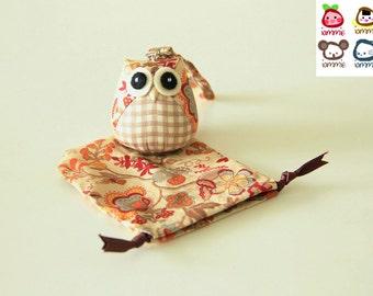 Autumn - Owl Doll with a Bag: owl plush, owl decor, brown, little, mini, kid, flower, colorful, plaid, leaf, owl decoration, kawaii, iammie