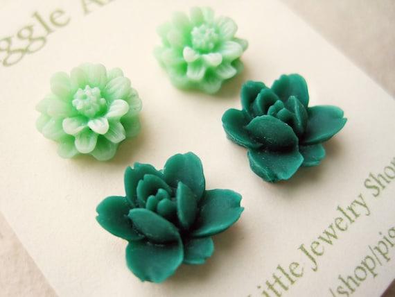 Green Flower Earrings. Mint Green Daisy Earrings, Emerald Lotus Earrings. Small Floral Resin Post Earrings. Hypoallergenic Nickel Free.