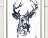 Whitetail Deer Painting Original Print - Ink Art - Deer Art - Animal Painting - Archival Quality Fine Art - Wall Art Home Decor