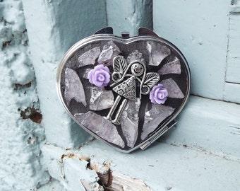 Mosaic Make Up Heart Compact, Girl Angel Compact