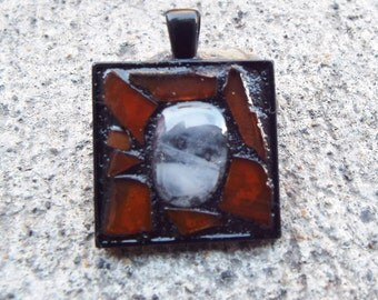 Framed Pendant, Fused Glass Pendant, Orange Glass Pendant, Mosaic Pendant