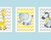 Grey, Blue and Yellow Art for nursery walls, Giraffe, Zebra and Elephant