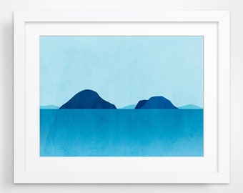 Ocean Seascape Art, Beach Decor, Abstract Art Landscape, Minimalist Poster, Coastal Decor