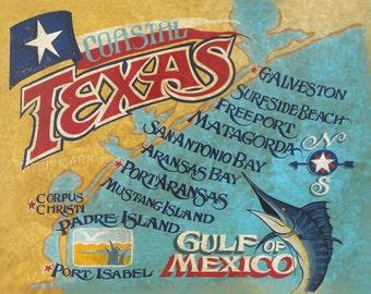 Texas Coastal Bend    retro style  Map