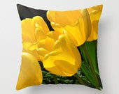 Tulips yellow spring flowers pillow cover