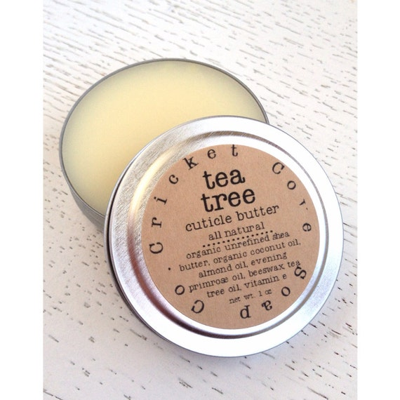 CUTICLE BUTTER  - Tea Tree Cuticle Butter - 1oz Cuticle Cream - stocking stuffer - All Natural - Reusable Tin
