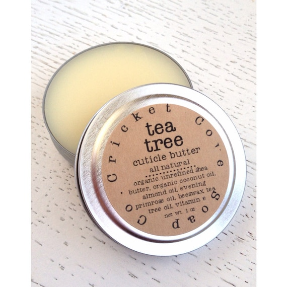 CUTICLE BUTTER  - Tea Tree Cuticle Butter - 1oz Cuticle Cream - All Natural - Reusable Tin