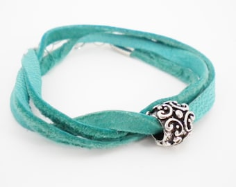 Turquoise Green Convertible Deerskin Wrap Bracelet with Silver Filigree Bead / Necklace / Anklet