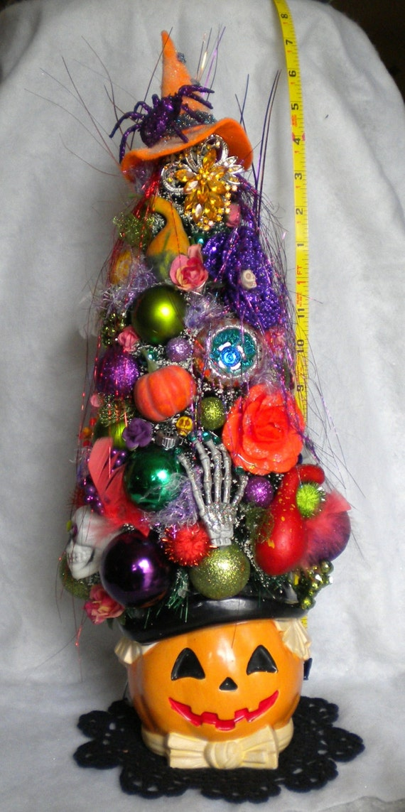 Halloween Dept 56 Bottle Brush Tree Lighted Putz House