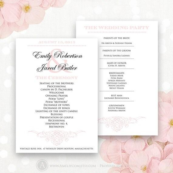 Items Similar To Printable Wedding Programs Pink Instant Download EDITABLE PDF Template
