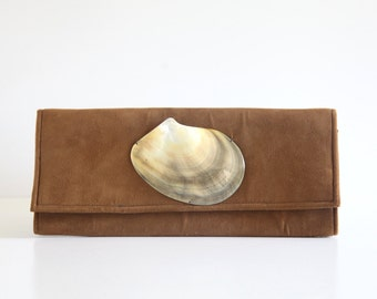 Beautiful Vintage Clutch Purse in Velvety Faux Suede with Mother of Pearl Seashell / 1970s 1980s