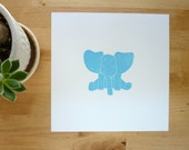 Baby animal art print Jack the Elephant blue nursery wall decor