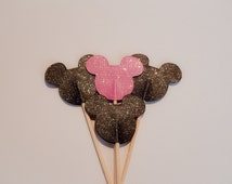24 Mickey Black Pink Glitter Cupcake Toppers,Party Picks,Food Picks,Children's Party