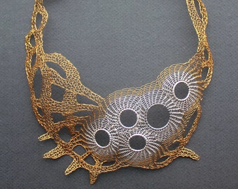 CALYPSO Silver and Brass Wire Crocheted Bib Necklace/Unique Statement Necklace/Lacy Unusual Modern Necklace/Crochet Jewelry. Made to order