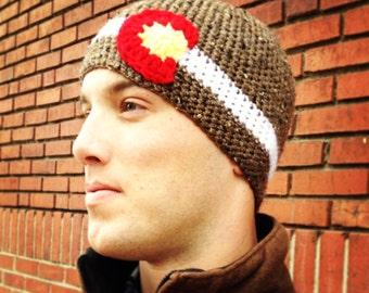 Mens Colorado Hat Colorado Beanie Mens Brown Handmade Crochet