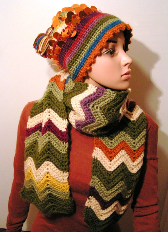 Chevron Hat w/sequins picot edge and Matching Scarf - Multi color 100% Acrylic Lion Brand Yarn