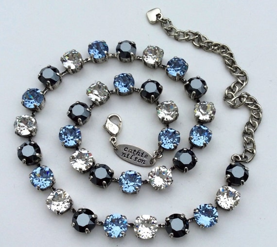 Swarovski Crystal 8.5mm Necklace  - Designer Inspired- PENN.State Colors- Light Sapphire Blue,Crystal, and Hematite - FREE SHIPPING