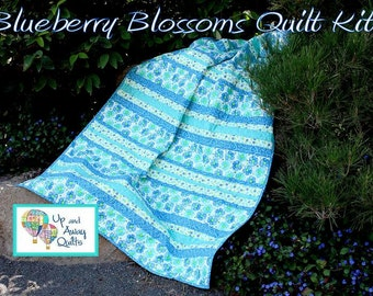 Sale - Blueberry Blossoms Moda Twirl Strip Quilt Kit - Me and My Sister Strip Quilt