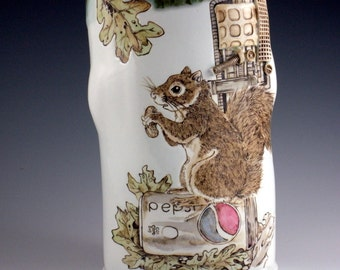 Squirrel on Pepsi Can, Handpainted Ceramic Vase, Handbuilt Porcelain Pottery, Steampunk