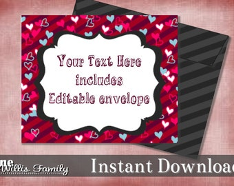 Editable Valentines Card with Envelope