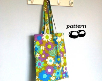 Tote Bag Pattern / Shoulder Bag Pattern / Easy Sewing Pattern / Beginner Sewing Project / Market Bag Grocery Bag Sewing Instructions