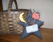 Primitive Fabric Black Star Hanger/Shelf Sitter With Pip Berries