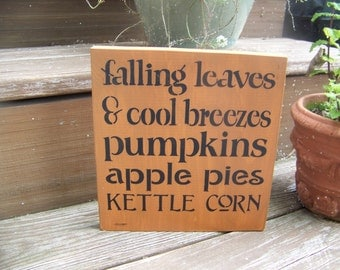 Falling Leaves Primitive Fall Stencilled Sign