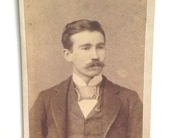 Vintage Sepia Cabinet Card of Man with Mustache
