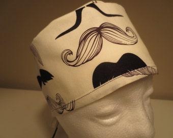 SALE Mustache  Skull Cap Style Surgical Hat
